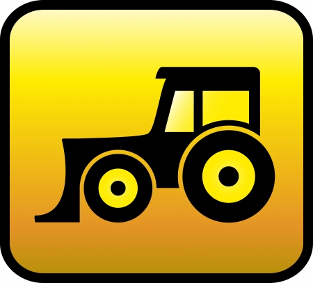 yellow tractor: yellow glossy button with bulldozer or tractor black silhouette