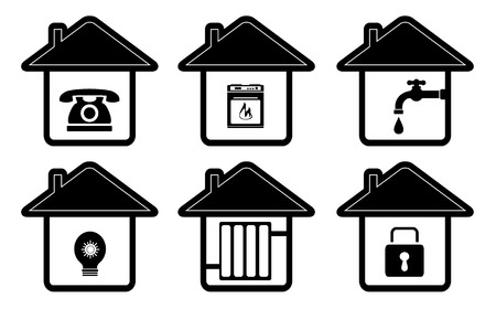 stove pipe: set isolated house icons with home appliance Illustration