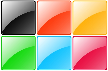 set of colorful glossy buttons - black, red, yellow, green, blue, pink Vector