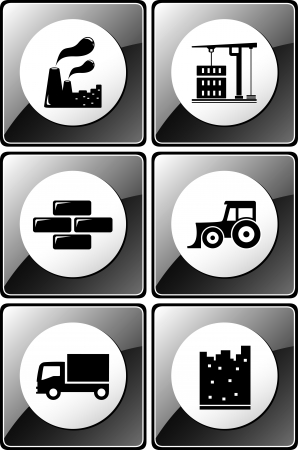 set of glossy industrial icons for construction and factory silhouette Vector