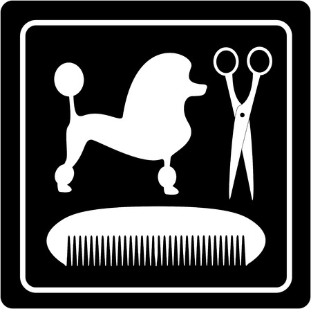 grooming symbol with poodle dog, scissors and comb