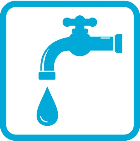 water sanitation: blue icon with tap and drop. water symbol