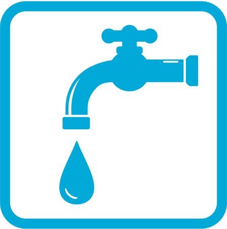 source d eau: icône bleue avec robinet et chute. symbole de l'eau