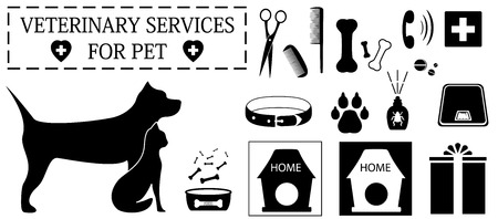 set isolated veterinary objects for pet care Illustration