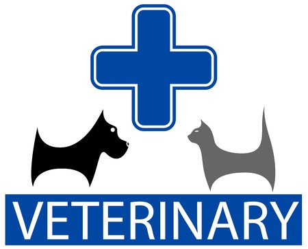 veterinary symbol: cute veterinary symbol with isolated cartoon pet Illustration