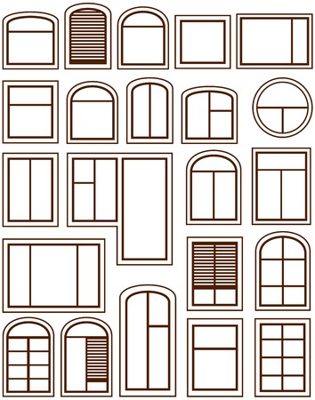 balcony window: set isolated windows silhouette on white background Illustration
