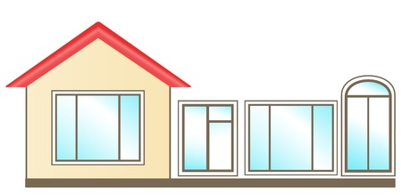 set of windows for installation in home Vector