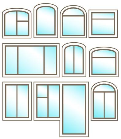 ventanas abiertas: set de iconos de Windows con el cristal brillante sobre fondo blanco