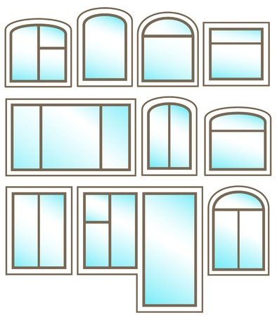 window sill: set windows icon with glossy glass on white background