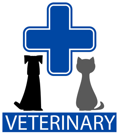 cat call: veterinary icon with isolated pet and blue cross