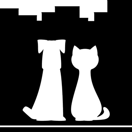 animal shelter: dog and cat silhouette on black city background