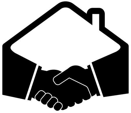 black handshake icon with home roof silhouette Vector