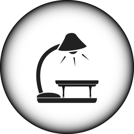 black icon with floor lamp and table silhouette Vector