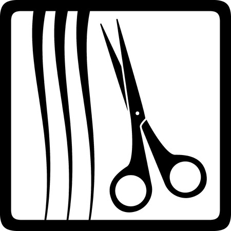 scissors and hair silhouette, black barbershop icon Stock Vector - 26055960
