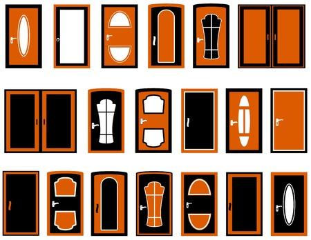wooden doors: conjunto de vectores Cu�ntas puertas de madera aislada silueta Vectores