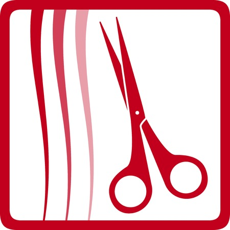 facia: red scissors and hair, style hair care icon