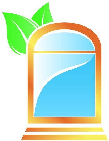 isolated gold icon with window and leaf