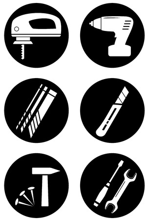 set isolated tools for repair home work Vector