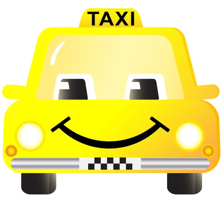 taxi cab: isolated icon with happy cartoon taxi car smiling
