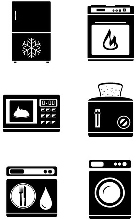 set black silhouette isolated home appliances icons Vector