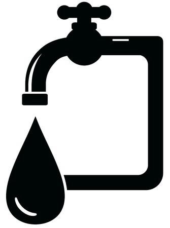 black isolated icon faucet - sanitation symbol Illustration