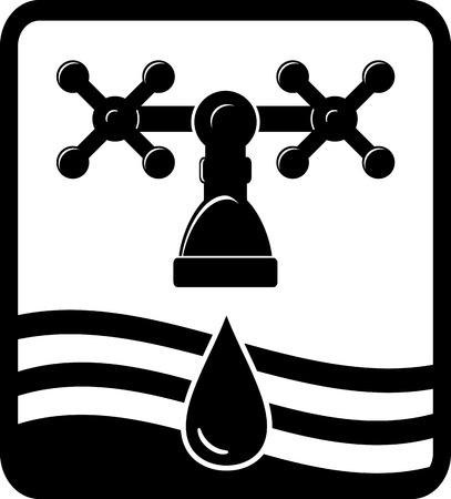 mediateur: fond noir ou signer avec robinet, goutte et vague