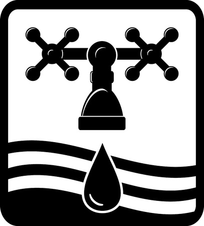 black background or sign with faucet, drop and wave Stock Illustratie