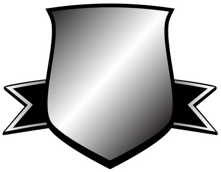 security symbol: isolated silver shield icon - glossy security symbol