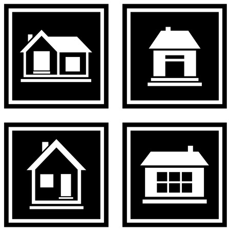 white house: set white house silhouette on black icons Illustration