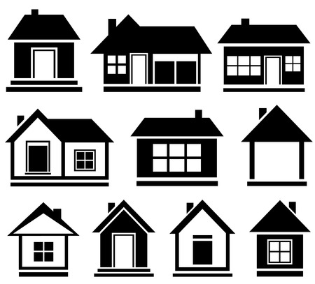 set cottage icons - black isolated house silhouette Vector
