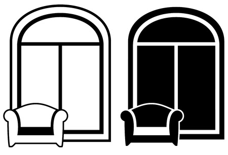 set of armchair with window - black and white silhouette Vector