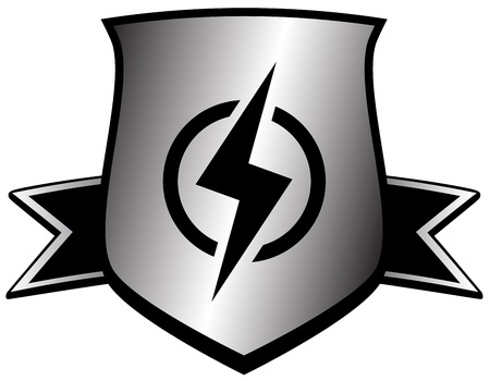 power symbol - shield with lightning with lightning silhouette
