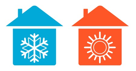 home heating: set air conditioning icon - warm and cold in home Illustration