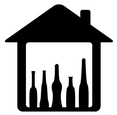 black icon with bottle in home silhouette