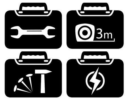 rotary: black portfolio icon with tools for repair Illustration