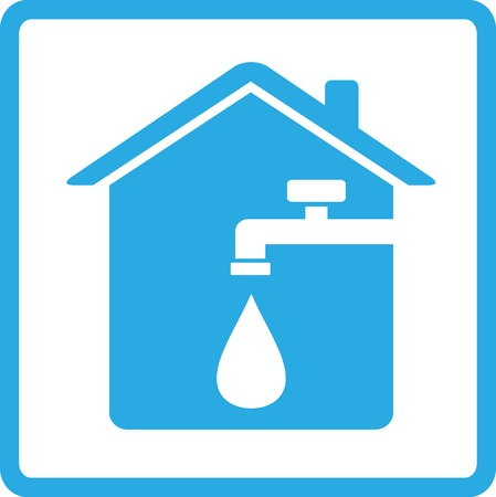 water sanitation: blue house icon with spigot and drop of water