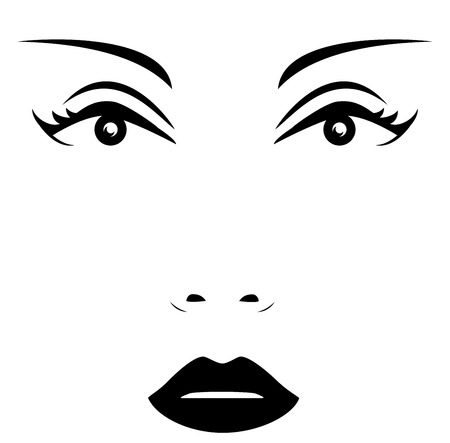 icon with isolated woman face - beauty salon symbol Vector