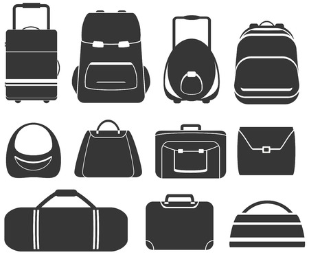 set isolated objects with gray bags icon Stock Illustratie
