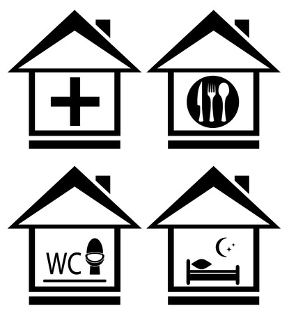 set house icon with medical, wc, food and bed symbols