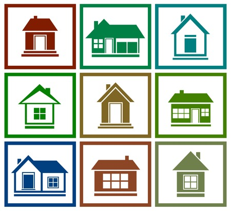 garage door: set icons with isolated colorful house silhouette Illustration