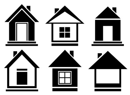 barn door: set isolated home silhouette - vector collection house icons
