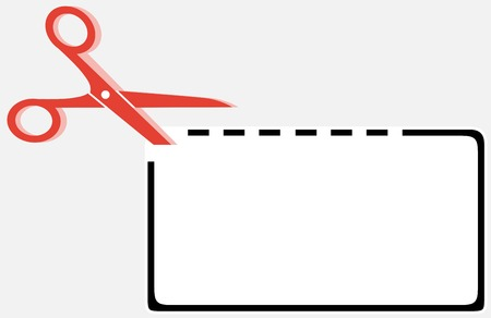 cut out coupon rectangle shape with red scissors silhouette Vector