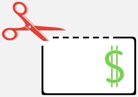 crossed out: cut out money coupon rectangle shape with scissors Illustration