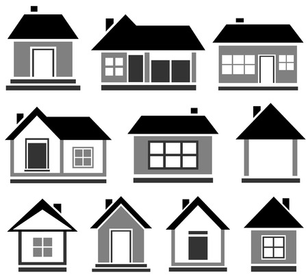 sheds: set black house icon - isolated cottage silhouette for web