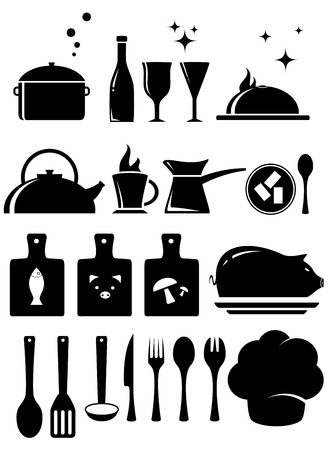 set black isolated kitchen tools silhouette on white background Vector