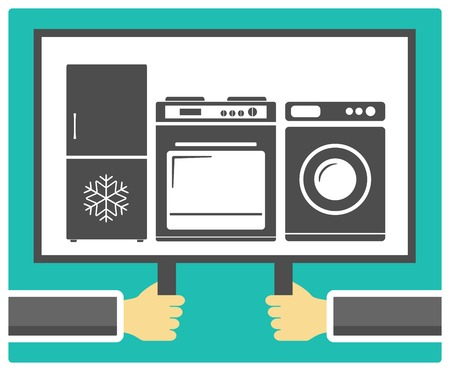 background with hands, poster and home appliances Vector
