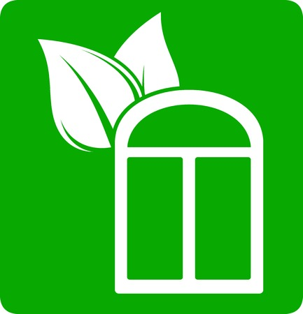 windowsill: green eco icon with window and leaf