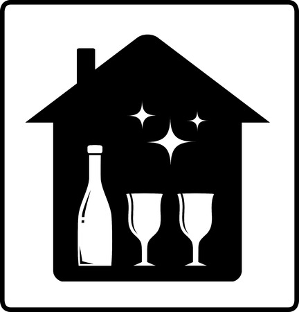 food and drink holiday: home with bottle and glass - beverage icon