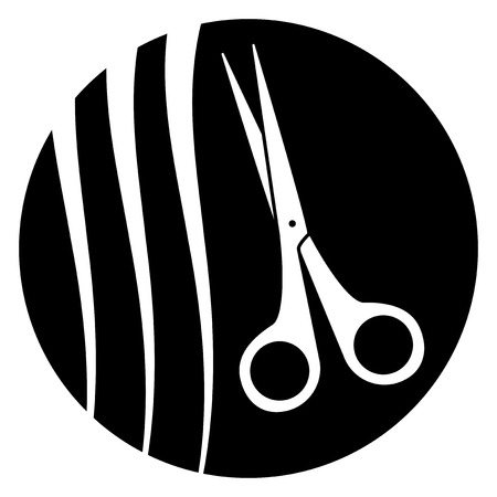 black icon with scissors and hairstyle silhouette - barber symbol Vector