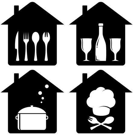 set black home icon with kithen utencil silhouette Vector